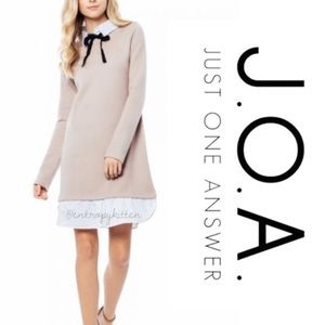 NWT J.O.A Layered Collar Bow Sweater Dress